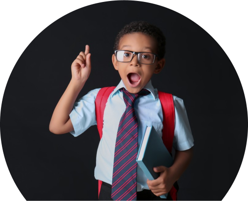 Cute African-American schoolboy with raised index finger